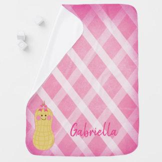 Rosa kleine Erdnuss-personalisierte Baby-Decke Puckdecke