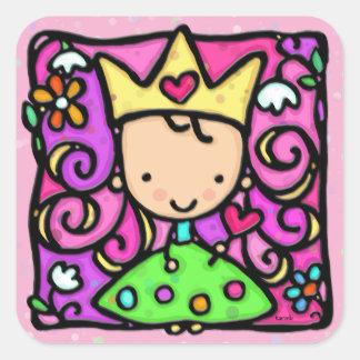 Rosa kleine girly Prinzessin Quadratischer Aufkleber