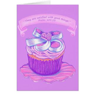 Rosa kleiner Kuchen auf Platten-Karte ~Scriptures Mitteilungskarte