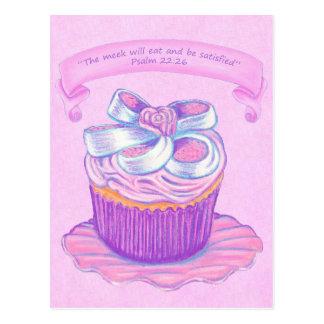 Rosa kleiner Kuchen auf Schrifts-Postkarte der Postkarte