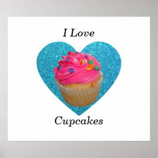 Rosa kleiner Kuchen der kleinen Kuchen der Liebe I Plakatdruck
