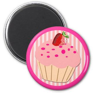 Rosa kleiner Kuchen Runder Magnet 5,7 Cm
