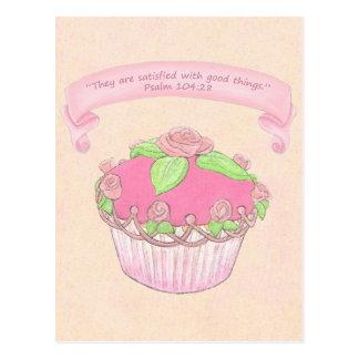 Rosa kleiner Kuchen ~ Schrifts-Postkarte Postkarte