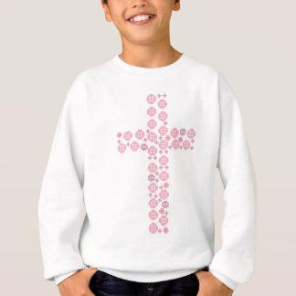 Rosa Knopfkreuz Sweatshirt