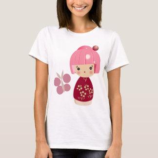 Rosa Kokeshi Dreiergruppe-Spaghetti-Bügel-Spitze T-Shirt