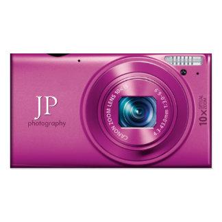 Rosa kompakte Kamera-Fotograf Visitenkarten Vorlagen