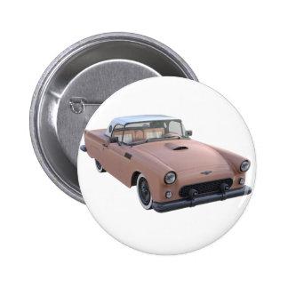 Rosa korallenroter Fünfzigerjahre Sportwagen Runder Button 5,7 Cm