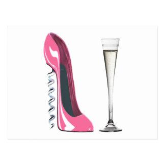 Rosa Korkenzieher-Stilett-Schuh und Sektkelch Postkarte
