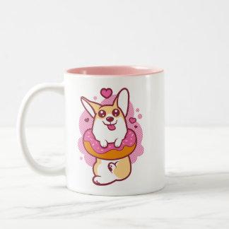 Rosa Krapfencorgi-Tasse Zweifarbige Tasse