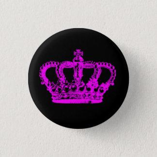 Rosa Krone Runder Button 3,2 Cm