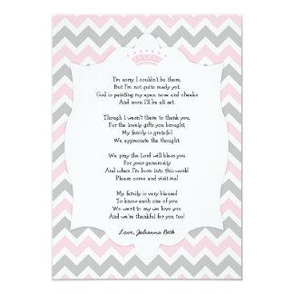 Rosa Kronen-Babyparty danken Ihnen, mit Gedicht zu 12,7 X 17,8 Cm Einladungskarte