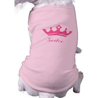Rosa Kronen-Silhouette mit dem Namen des Hundes Ärmelfreies Hunde-Shirt
