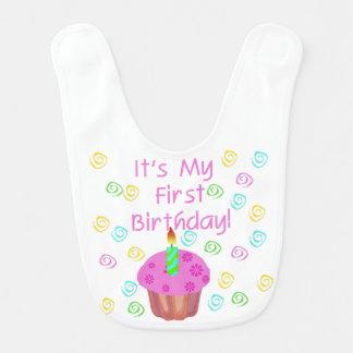 Rosa Kuchen-1. Geburtstags-Schellfisch Lätzchen
