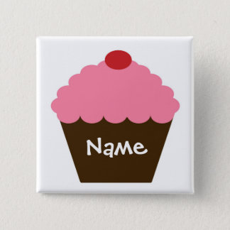 Rosa Kuchen-Liebe Quadratischer Button 5,1 Cm