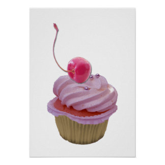 Rosa Kuchen-und Kirschplakat Plakatdrucke