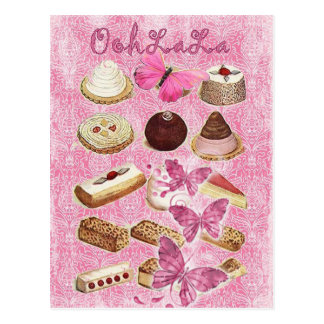 rosa Kuchenplätzchen französischen Gebäcks Paris Postkarte