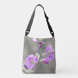 Rosa Kugel-Malven-Wildblumen Tragetaschen Mit Langen Trägern