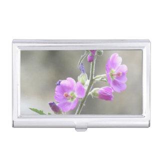 Rosa Kugel-Malven-Wildblumen Visitenkarten Etui