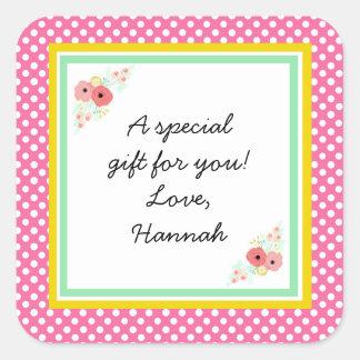 Rosa kundenspezifischer Geschenk-mit Quadratischer Aufkleber