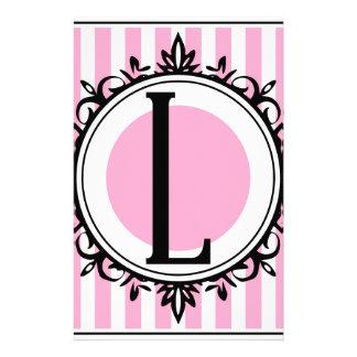 "Rosa ""L"" Monogramm Briefpapier"