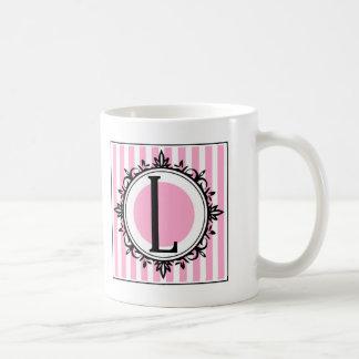 """Rosa """"L"""" Monogramm Kaffeetasse"""