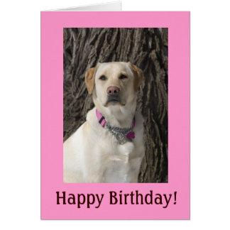 Rosa Labrador-Geburtstags-Karte Karte