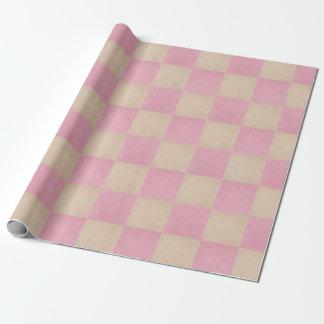Rosa Land-Leinwand-Karo-gemustertes Geschenkpapier