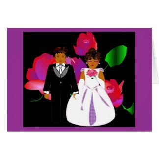 """""""Rosa Lavendel-Rosen-"""" Hochzeits-Anmerkungs-Karte"""