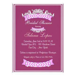 Rosa Lavendel-weiße Brautparty-Einladungen