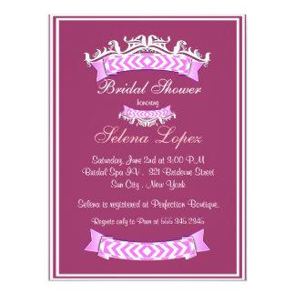 Rosa Lavendel-weiße Brautparty-Einladungen 16,5 X 22,2 Cm Einladungskarte