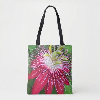 Rosa Leidenschafts-Blume ganz vorbei - drucken Sie Tasche