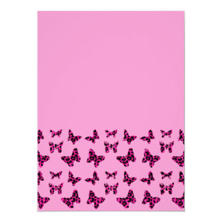 Rosa Leopard beschmutzt Schmetterlings-Muster 14 X 19,5 Cm Einladungskarte