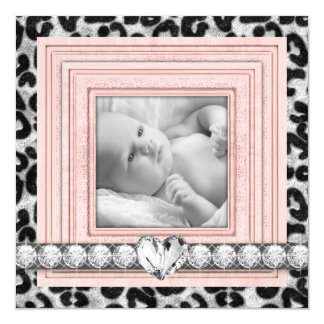 Rosa Leopard-Geburts-Mitteilungen Quadratische 13,3 Cm Einladungskarte