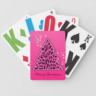 Rosa Leopard-Gepard-Weihnachtsbaum Bicycle Spielkarten