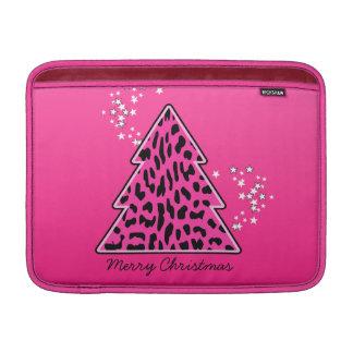 Rosa Leopard-Gepard-Weihnachtsbaum MacBook Sleeve
