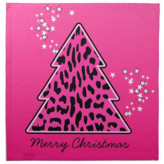 Rosa Leopard-Gepard-Weihnachtsbaum Serviette