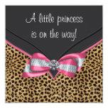 Rosa Leopard-Prinzessin Babyparty Einladungskarte