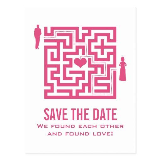 Rosa Liebe-Labyrinth-Save the Date Postkarte
