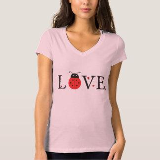 """Rosa-""""Liebe-"""" Marienkäfer V-Hals T - Shirt"""