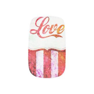 Rosa Liebe mit Streifen Minx Nagelkunst