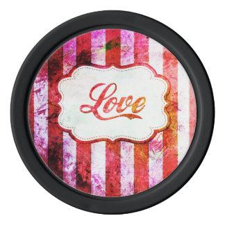 Rosa Liebe mit Streifen Poker Chip Set