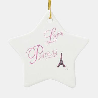 Rosa-Liebe-Paris-Eiffel-Turm-Einzigartig Keramik Ornament