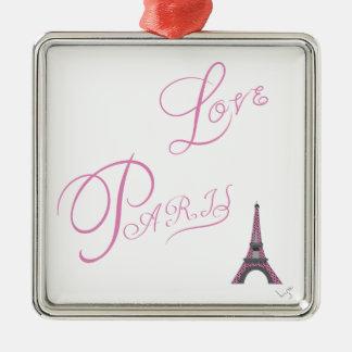Rosa-Liebe-Paris-Eiffel-Turm-Einzigartig Quadratisches Silberfarbenes Ornament