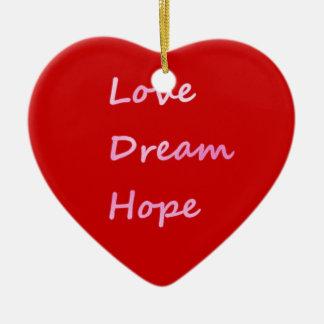 Rosa Liebe, Traum, hoffen rote Herz-Verzierung Weihnachtsbaum Ornamente