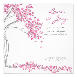 Rosa Liebe-u Freude-Baby-Mitteilung Personalisierte Ankündigungen