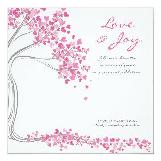 Rosa Liebe-u. Freude-Baby-Mitteilung Quadratische 13,3 Cm Einladungskarte