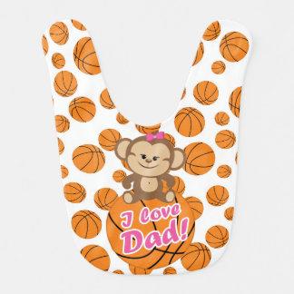 Rosa Liebe-Vati-Basketball-Schellfisch des Affe-I Lätzchen