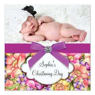 Rosa lila Blumen-Baby-Mädchen-Foto-Taufe Ankündigungen