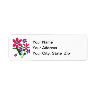 Rosa/lila Blumen-Blumenstrauß-Rücksendeadressen-Au Rückversand-Adressaufkleber