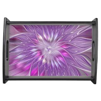 Rosa lila Blumen-Leidenschafts-abstrakte Tablett